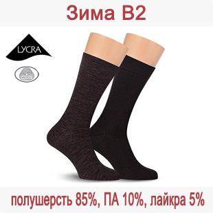 Зимние мужские носки из полушерсти Зима В2